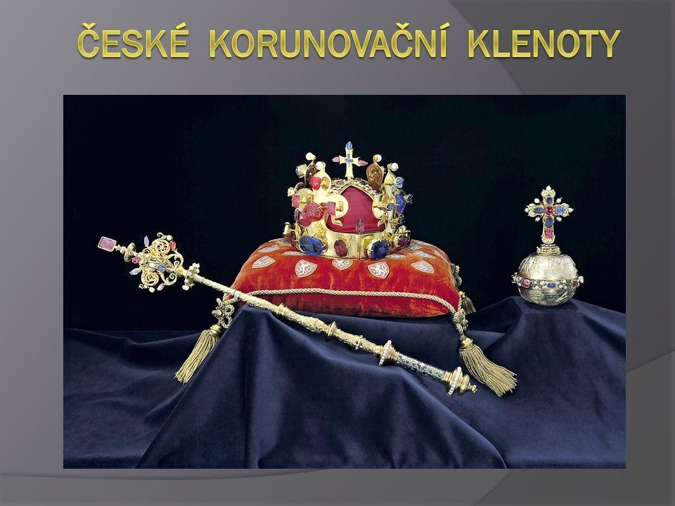  České korunovační klenoty je souhrnný název pro předměty, které se používají při korunovaci českých králů  Korunovační klenoty zahrnují: svatováclavskou korunu, žezlo, královské jablko,pouzdro svatováclavské koruny, svatováclavský meč, ostatkový kříž a korunovační plášť  Českými korunovačními klenoty (alespoň Svatováclavskou korunou) byli korunováni tito králové: Karel IV., Václav IV., Zikmund Lucemburský, Albrecht Habsburský, Ladislav Pohrobek, Jiří z Poděbrad, Vladislav II.
