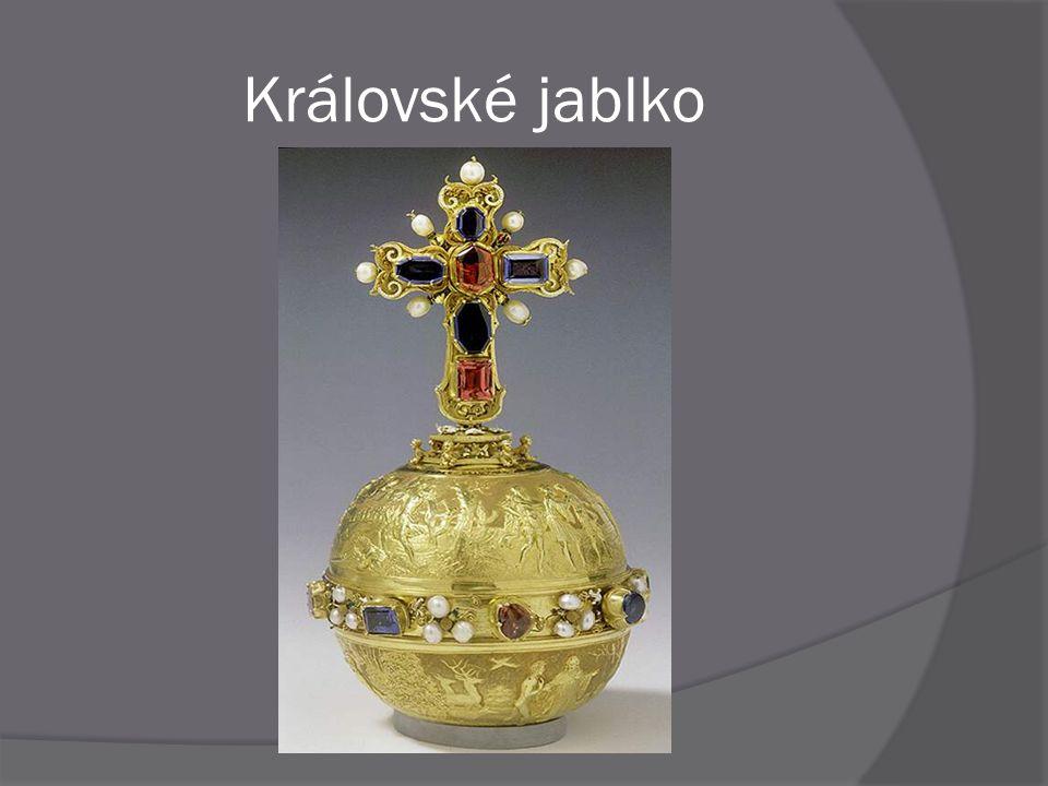 """ Původní gotické """" karlovské """" zlaté jablko je uložené ve Vídni  Královské jablko, které je dnes součástí Českých korunovačních klenotů nechal zhotovit císař Ferdinand I."""