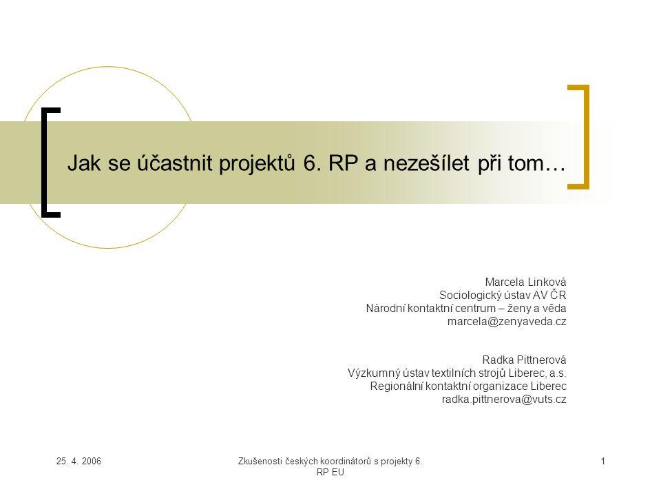 25. 4. 2006Zkušenosti českých koordinátorů s projekty 6. RP EU 1 Jak se účastnit projektů 6. RP a nezešílet při tom… Marcela Linková Sociologický ústa