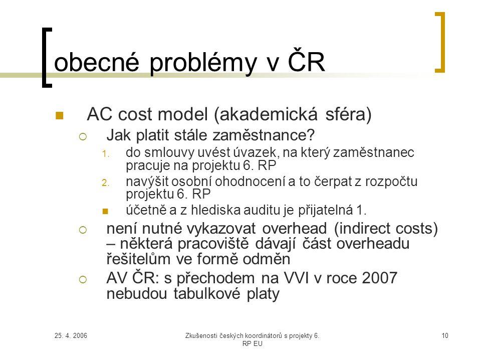 25. 4. 2006Zkušenosti českých koordinátorů s projekty 6. RP EU 10 obecné problémy v ČR  AC cost model (akademická sféra)  Jak platit stále zaměstnan