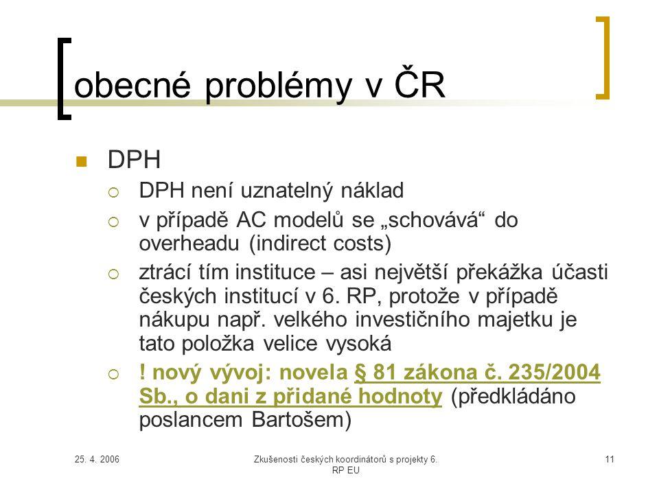 """25. 4. 2006Zkušenosti českých koordinátorů s projekty 6. RP EU 11 obecné problémy v ČR  DPH  DPH není uznatelný náklad  v případě AC modelů se """"sch"""