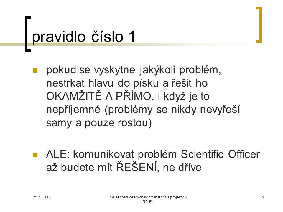 25. 4. 2006Zkušenosti českých koordinátorů s projekty 6. RP EU 15 pravidlo číslo 1  pokud se vyskytne jakýkoli problém, nestrkat hlavu do písku a řeš