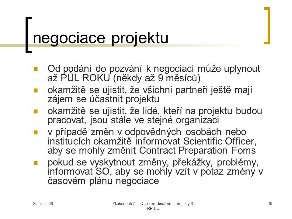 25. 4. 2006Zkušenosti českých koordinátorů s projekty 6. RP EU 19 negociace projektu  Od podání do pozvání k negociaci může uplynout až PŮL ROKU (něk