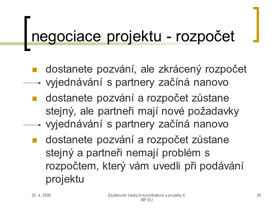 25. 4. 2006Zkušenosti českých koordinátorů s projekty 6. RP EU 20 negociace projektu - rozpočet  dostanete pozvání, ale zkrácený rozpočet vyjednávání