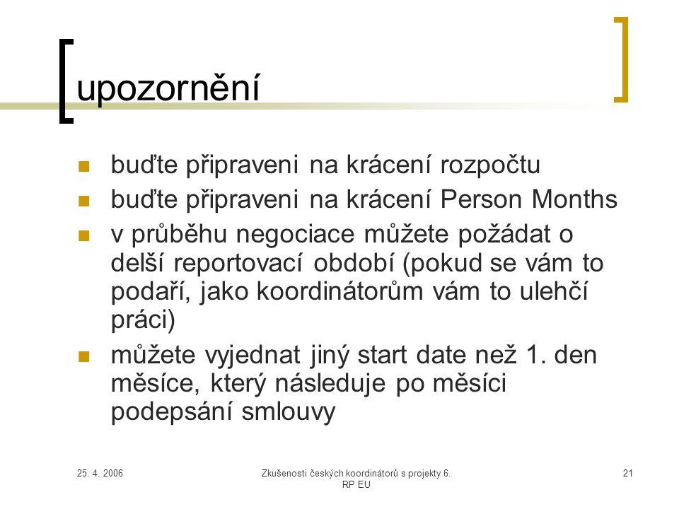 25. 4. 2006Zkušenosti českých koordinátorů s projekty 6. RP EU 21 upozornění  buďte připraveni na krácení rozpočtu  buďte připraveni na krácení Pers