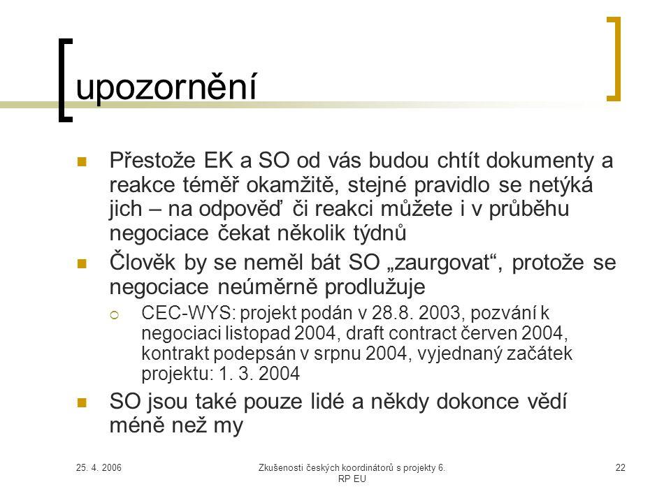 25. 4. 2006Zkušenosti českých koordinátorů s projekty 6. RP EU 22 upozornění  Přestože EK a SO od vás budou chtít dokumenty a reakce téměř okamžitě,