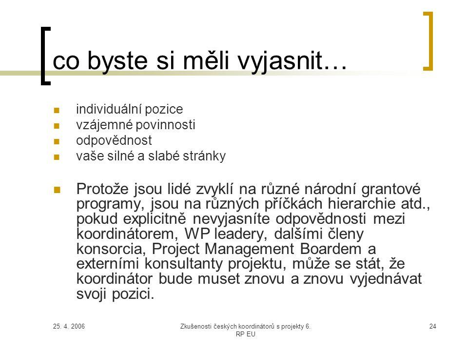 25. 4. 2006Zkušenosti českých koordinátorů s projekty 6. RP EU 24 co byste si měli vyjasnit…  individuální pozice  vzájemné povinnosti  odpovědnost