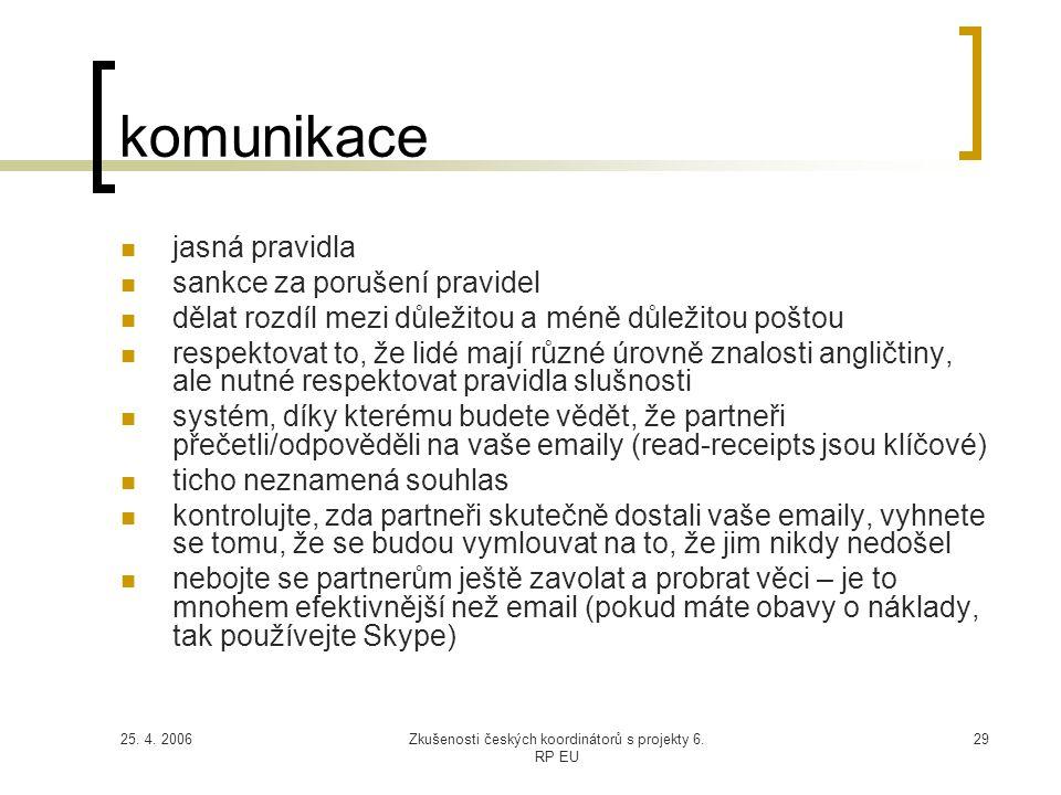 25. 4. 2006Zkušenosti českých koordinátorů s projekty 6. RP EU 29 komunikace  jasná pravidla  sankce za porušení pravidel  dělat rozdíl mezi důleži