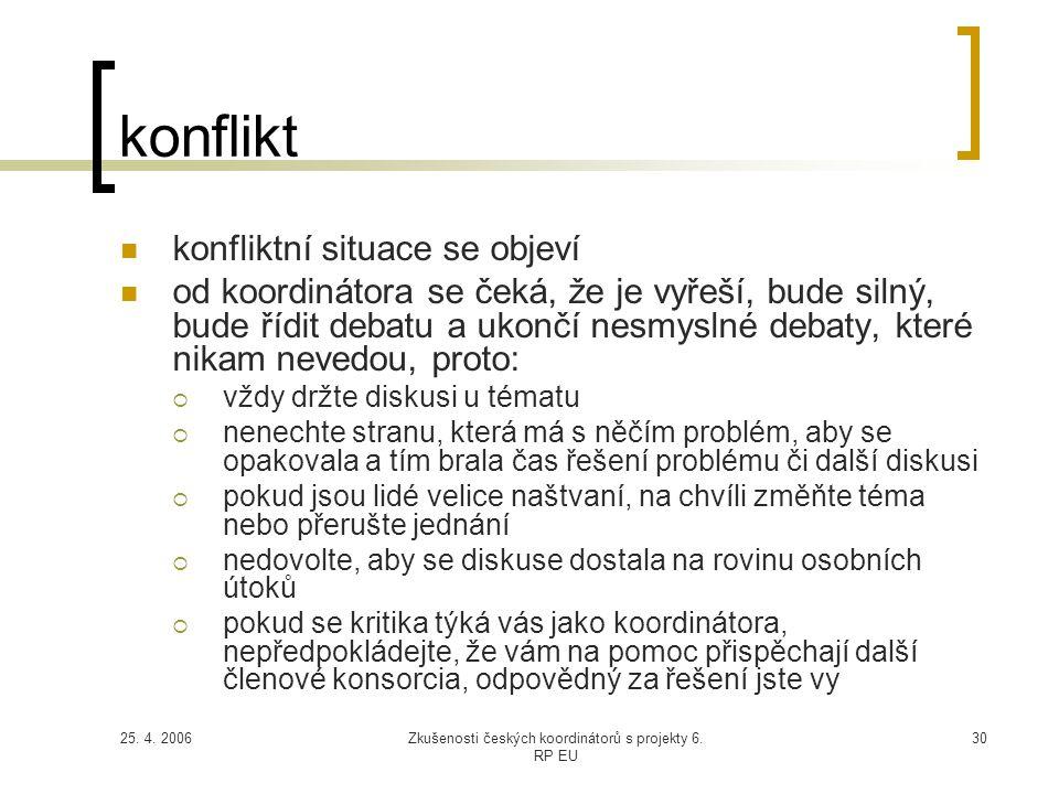 25. 4. 2006Zkušenosti českých koordinátorů s projekty 6. RP EU 30 konflikt  konfliktní situace se objeví  od koordinátora se čeká, že je vyřeší, bud