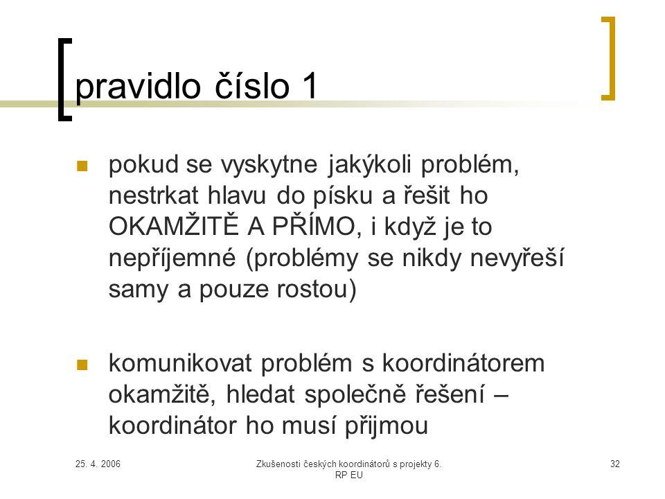 25. 4. 2006Zkušenosti českých koordinátorů s projekty 6. RP EU 32 pravidlo číslo 1  pokud se vyskytne jakýkoli problém, nestrkat hlavu do písku a řeš