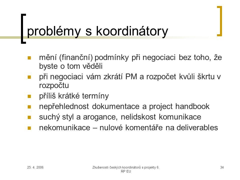 25. 4. 2006Zkušenosti českých koordinátorů s projekty 6. RP EU 34 problémy s koordinátory  mění (finanční) podmínky při negociaci bez toho, že byste