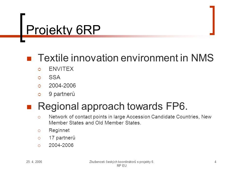 25. 4. 2006Zkušenosti českých koordinátorů s projekty 6. RP EU 4 Projekty 6RP  Textile innovation environment in NMS  ENVITEX  SSA  2004-2006  9
