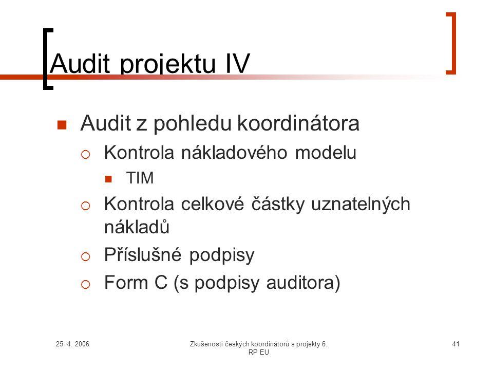 25. 4. 2006Zkušenosti českých koordinátorů s projekty 6. RP EU 41 Audit projektu IV  Audit z pohledu koordinátora  Kontrola nákladového modelu  TIM