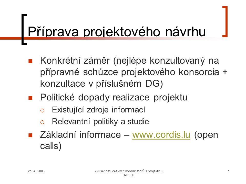 25. 4. 2006Zkušenosti českých koordinátorů s projekty 6. RP EU 5 Příprava projektového návrhu  Konkrétní záměr (nejlépe konzultovaný na přípravné sch