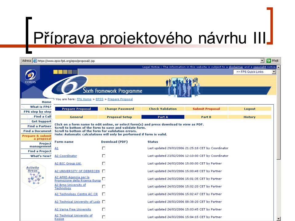 25. 4. 2006Zkušenosti českých koordinátorů s projekty 6. RP EU 7 Příprava projektového návrhu III
