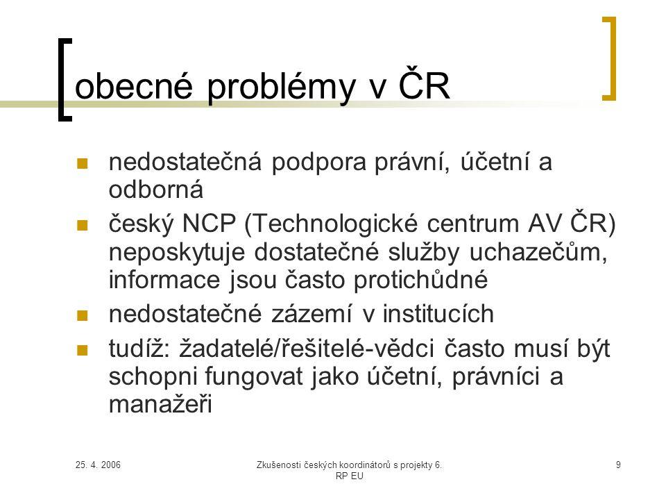 25. 4. 2006Zkušenosti českých koordinátorů s projekty 6. RP EU 9 obecné problémy v ČR  nedostatečná podpora právní, účetní a odborná  český NCP (Tec