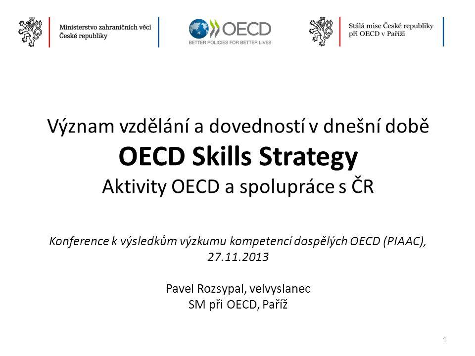 Význam vzdělání a dovedností v dnešní době OECD Skills Strategy Aktivity OECD a spolupráce s ČR Konference k výsledkům výzkumu kompetencí dospělých OE