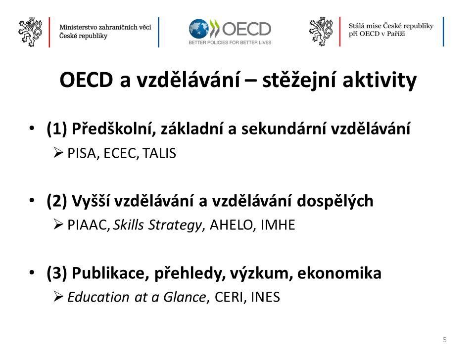 OECD a vzdělávání – stěžejní aktivity • (1) Předškolní, základní a sekundární vzdělávání  PISA, ECEC, TALIS • (2) Vyšší vzdělávání a vzdělávání dospě