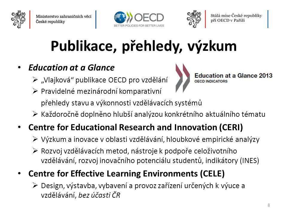 """Publikace, přehledy, výzkum • Education at a Glance  """"Vlajková"""" publikace OECD pro vzdělání  Pravidelné mezinárodní komparativní přehledy stavu a vý"""