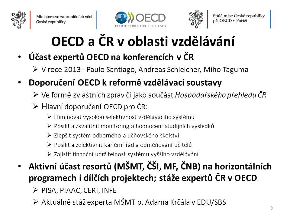 OECD a ČR v oblasti vzdělávání • Účast expertů OECD na konferencích v ČR  V roce 2013 - Paulo Santiago, Andreas Schleicher, Miho Taguma • Doporučení