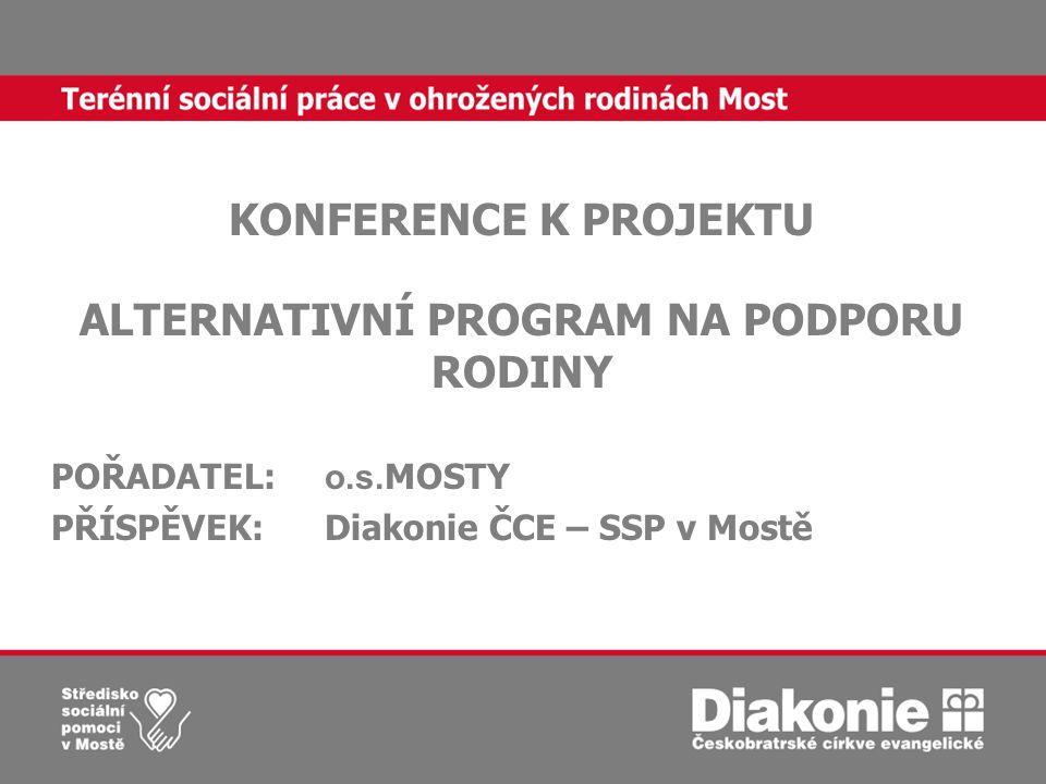 KONFERENCE K PROJEKTU ALTERNATIVNÍ PROGRAM NA PODPORU RODINY POŘADATEL: o.s.