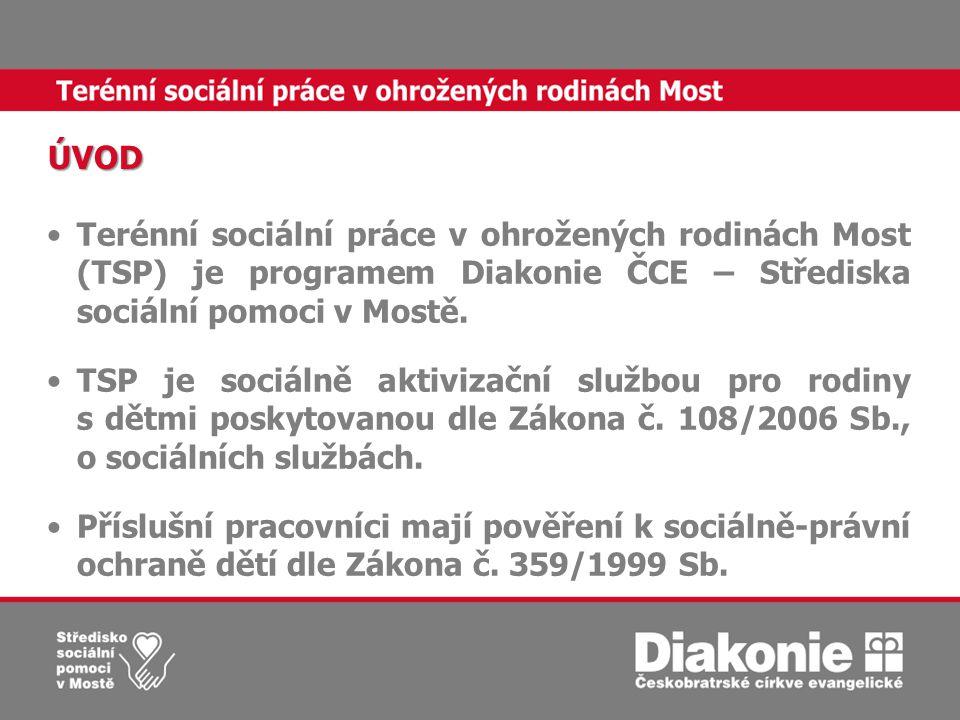 •Terénní sociální práce v ohrožených rodinách Most (TSP) je programem Diakonie ČCE – Střediska sociální pomoci v Mostě.