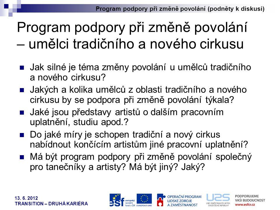 Program podpory při změně povolání (podněty k diskusi) 13. 6. 2012 TRANSITION – DRUHÁ KARIÉRA Program podpory při změně povolání – umělci tradičního a