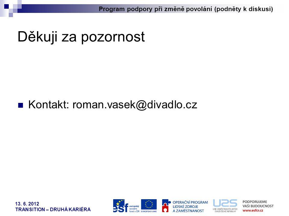 Program podpory při změně povolání (podněty k diskusi) 13. 6. 2012 TRANSITION – DRUHÁ KARIÉRA Děkuji za pozornost  Kontakt: roman.vasek@divadlo.cz
