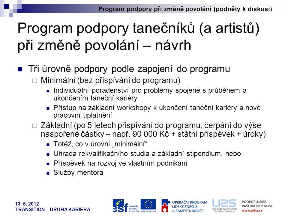 Program podpory při změně povolání (podněty k diskusi) 13. 6. 2012 TRANSITION – DRUHÁ KARIÉRA Program podpory tanečníků (a artistů) při změně povolání