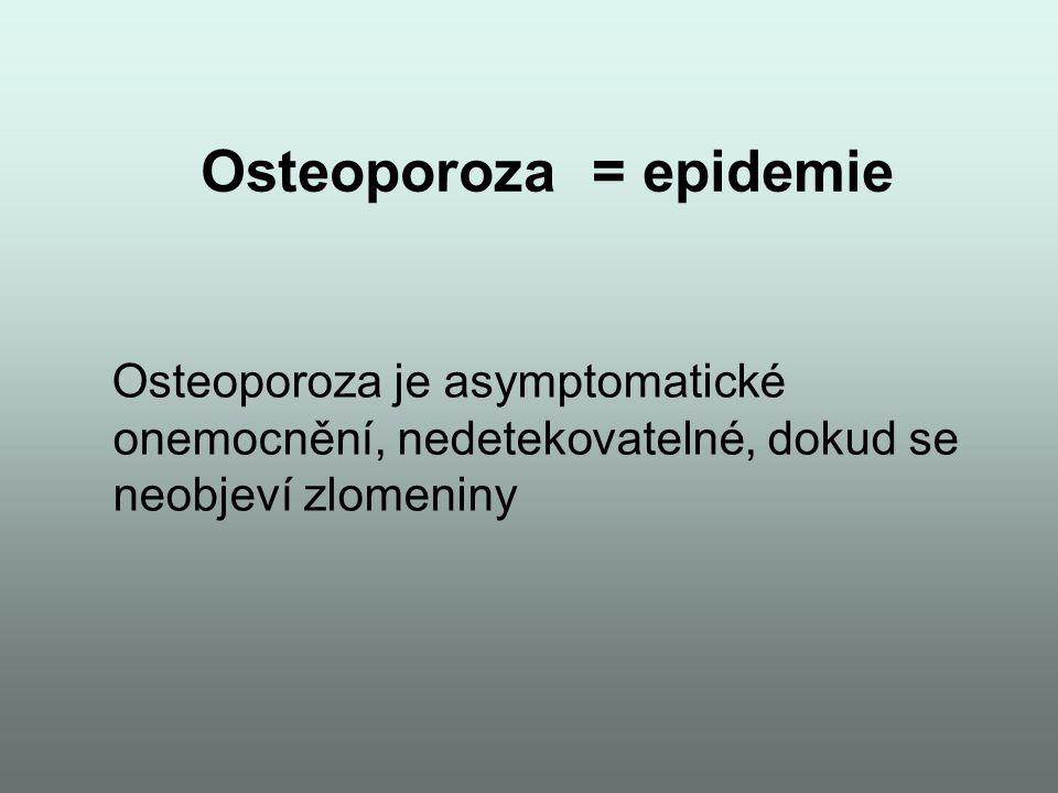 Osteoporoza = epidemie Osteoporoza je asymptomatické onemocnění, nedetekovatelné, dokud se neobjeví zlomeniny