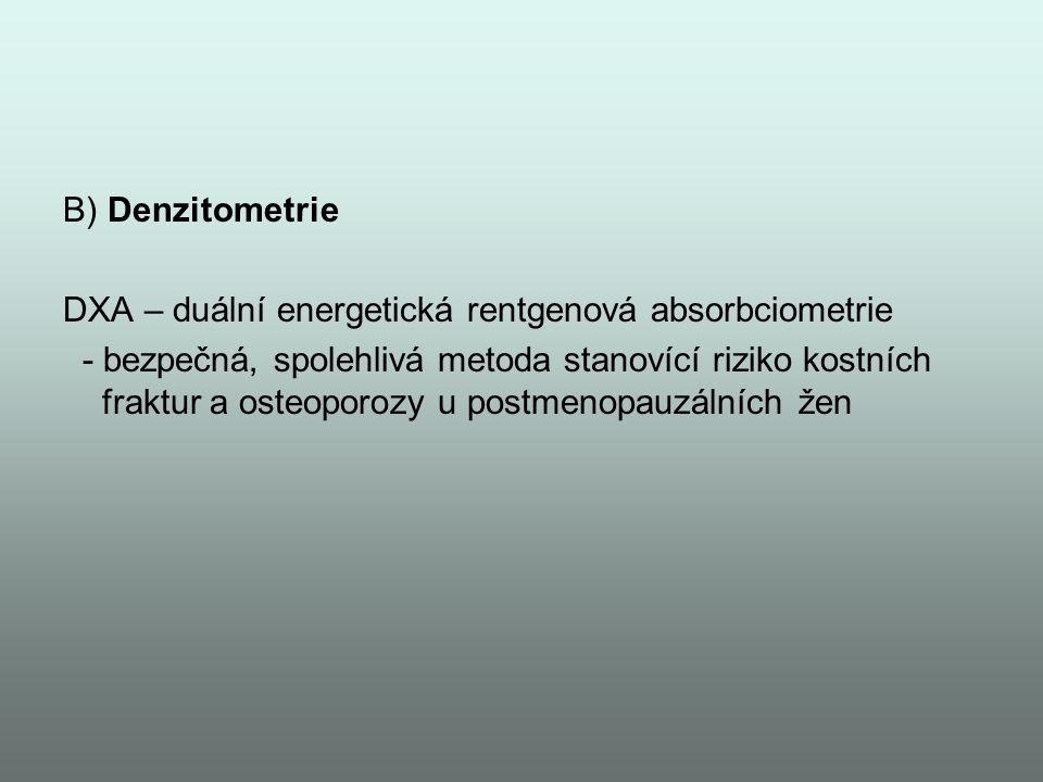 B) Denzitometrie DXA – duální energetická rentgenová absorbciometrie - bezpečná, spolehlivá metoda stanovící riziko kostních fraktur a osteoporozy u p