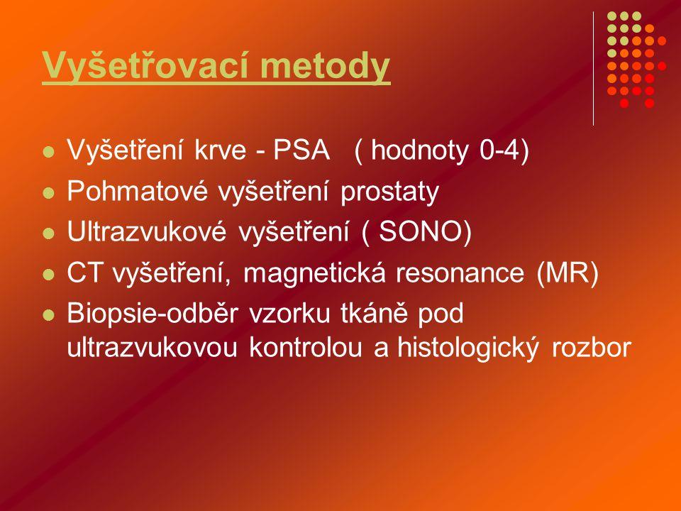 Vyšetřovací metody  Vyšetření krve - PSA ( hodnoty 0-4)  Pohmatové vyšetření prostaty  Ultrazvukové vyšetření ( SONO)  CT vyšetření, magnetická re
