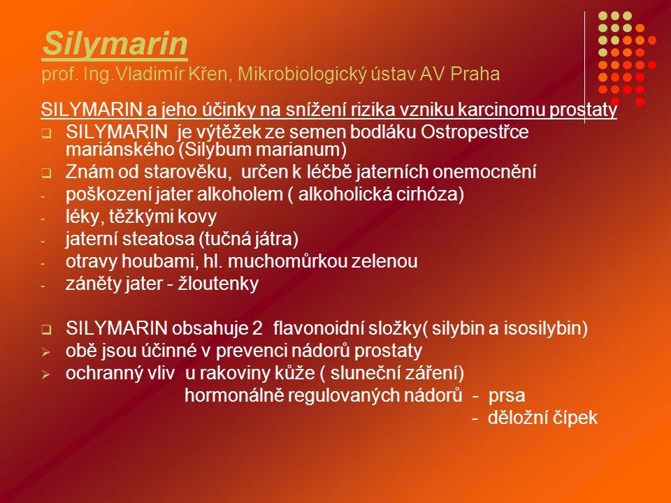 Silymarin prof. Ing.Vladimír Křen, Mikrobiologický ústav AV Praha SILYMARIN a jeho účinky na snížení rizika vzniku karcinomu prostaty  SILYMARIN je v