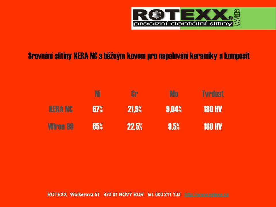 Slitina KERA NC ® je vyráběna v Německu a obsahuje evropskou značku shody CE 0434 Slitina KERA NC ® odpovídá normám DIN EN ISO 6871-2 DIN EN ISO 13485/DIN EN ISO 9001:2000 dle přílohy V MP směrnice 93/42/EWG Slitinu KERA NC ® proplácí VZP pod kódem 64500 ROTEXX Wolkerova 51 473 01 NOVÝ BOR tel.