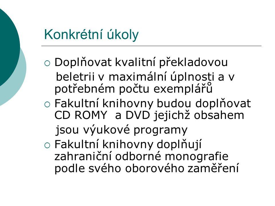 Konkrétní úkoly  Doplňovat kvalitní překladovou beletrii v maximální úplnosti a v potřebném počtu exemplářů  Fakultní knihovny budou doplňovat CD RO