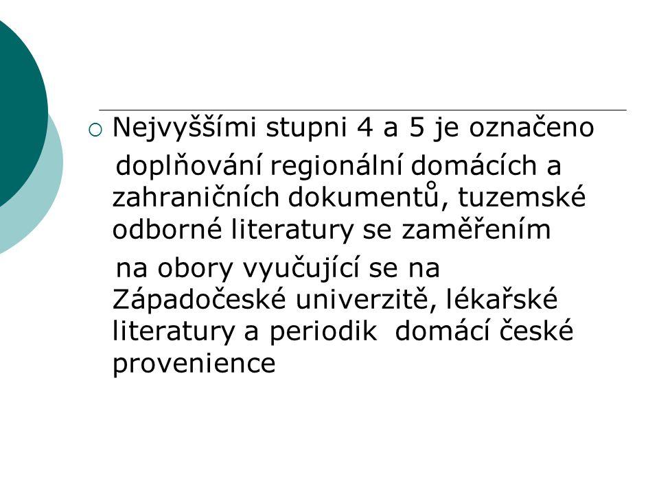  Nejvyššími stupni 4 a 5 je označeno doplňování regionální domácích a zahraničních dokumentů, tuzemské odborné literatury se zaměřením na obory vyučující se na Západočeské univerzitě, lékařské literatury a periodik domácí české provenience