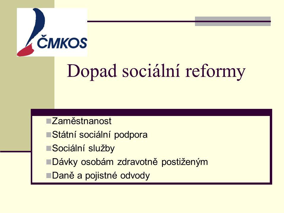 Dopad sociální reformy  Zaměstnanost  Státní sociální podpora  Sociální služby  Dávky osobám zdravotně postiženým  Daně a pojistné odvody