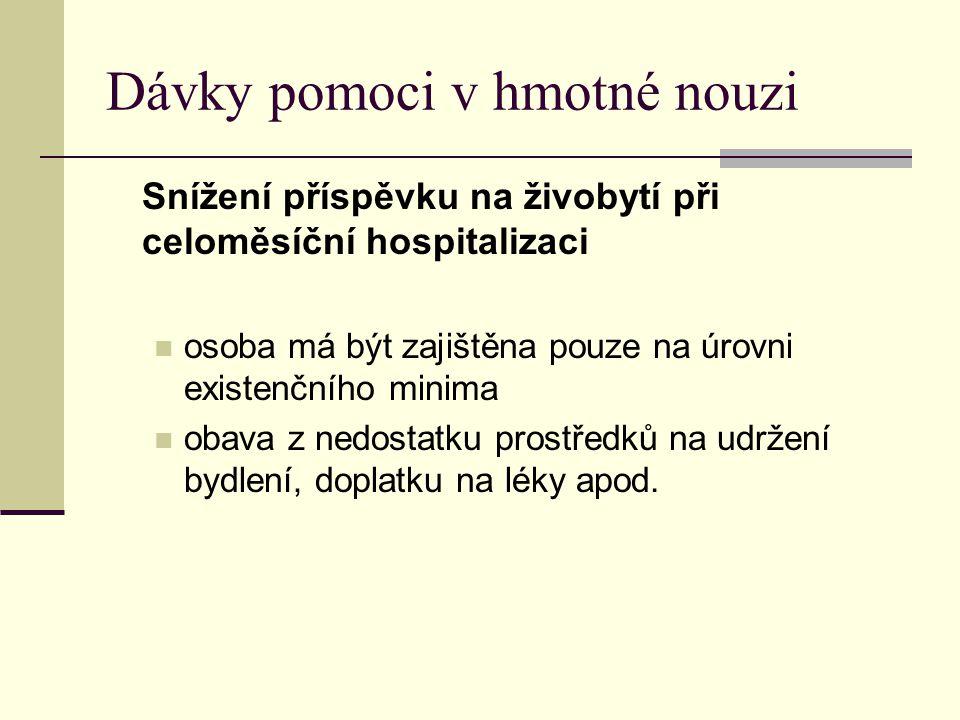 Dávky pomoci v hmotné nouzi Snížení příspěvku na živobytí při celoměsíční hospitalizaci  osoba má být zajištěna pouze na úrovni existenčního minima 