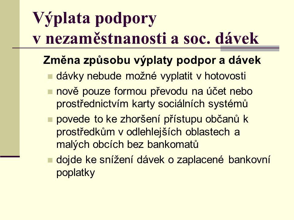 Výplata podpory v nezaměstnanosti a soc. dávek Změna způsobu výplaty podpor a dávek  dávky nebude možné vyplatit v hotovosti  nově pouze formou přev