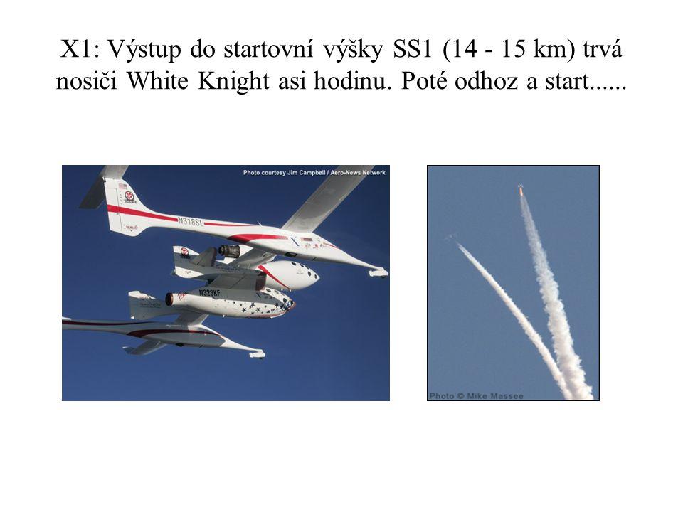 X1: Výstup do startovní výšky SS1 (14 - 15 km) trvá nosiči White Knight asi hodinu.