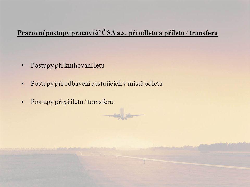 •Postupy při knihování letu •Postupy při odbavení cestujících v místě odletu •Postupy při příletu / transferu Pracovní postupy pracovišť ČSA a.s.