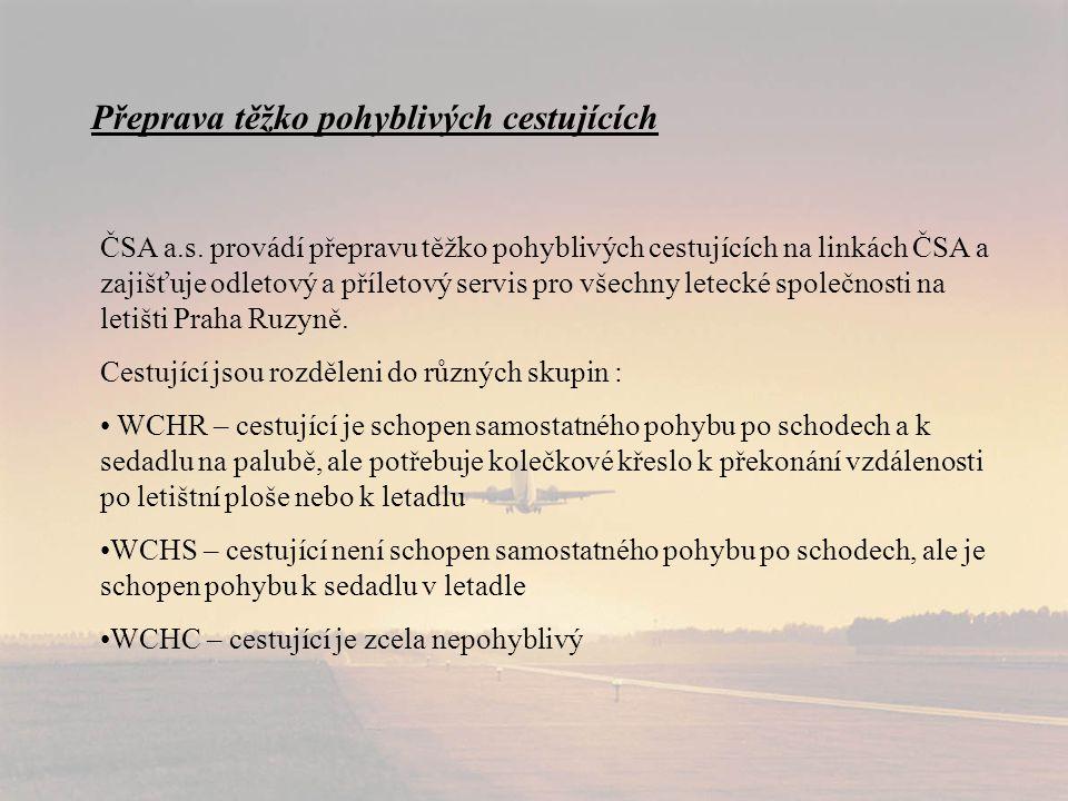 Přeprava těžko pohyblivých cestujících ČSA a.s.