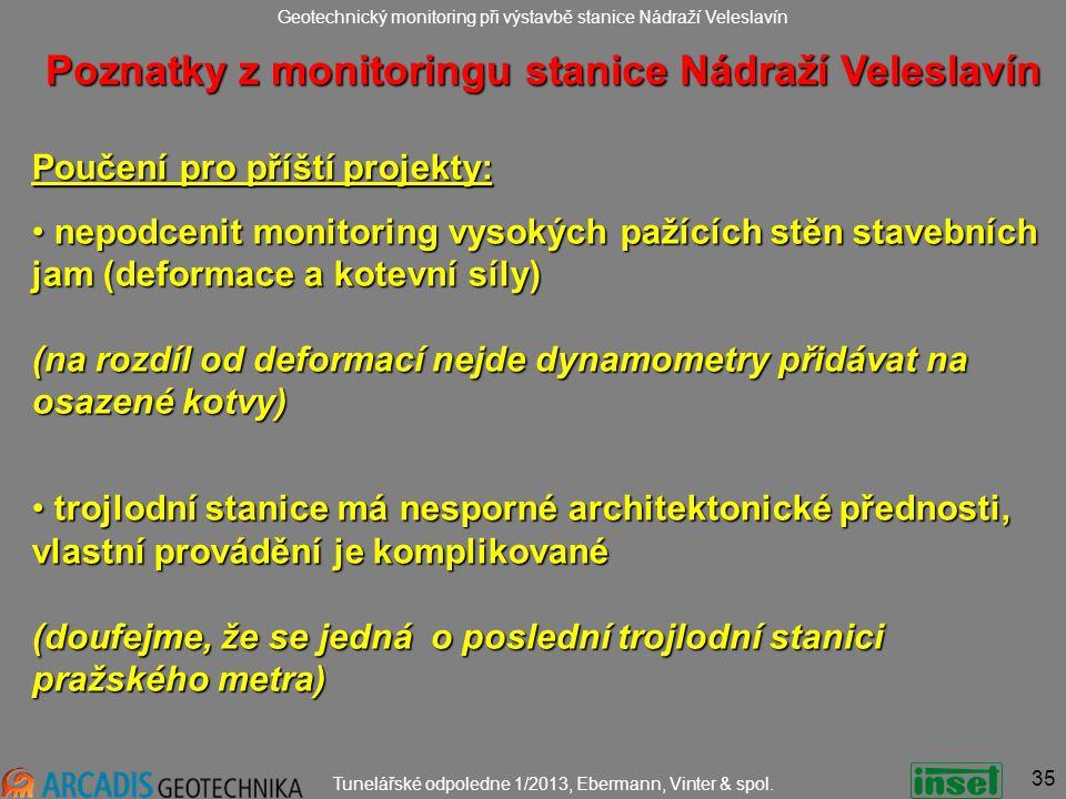 Geotechnický monitoring při výstavbě stanice Nádraží Veleslavín Tunelářské odpoledne 1/2013, Ebermann, Vinter & spol.