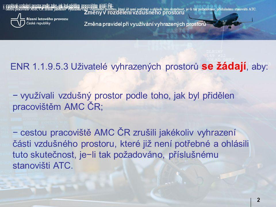 Změny v rozdělení vzdušného prostoru Změna pravidel při využívání vyhrazených prostorů 2 1.1.9.5.3 Uživatelé vyhrazených prostorů se žádají, aby: ENR 1.1.9.5.3 Uživatelé vyhrazených prostorů se žádají, aby: − využívali vzdušný prostor podle toho, jak byl přidělen pracovištěm AMC ČR; − cestou pracoviště AMC ČR zrušili jakékoliv vyhrazení části vzdušného prostoru, které již není potřebné a ohlásili tuto skutečnost, je−li tak požadováno, příslušnému stanovišti ATC.