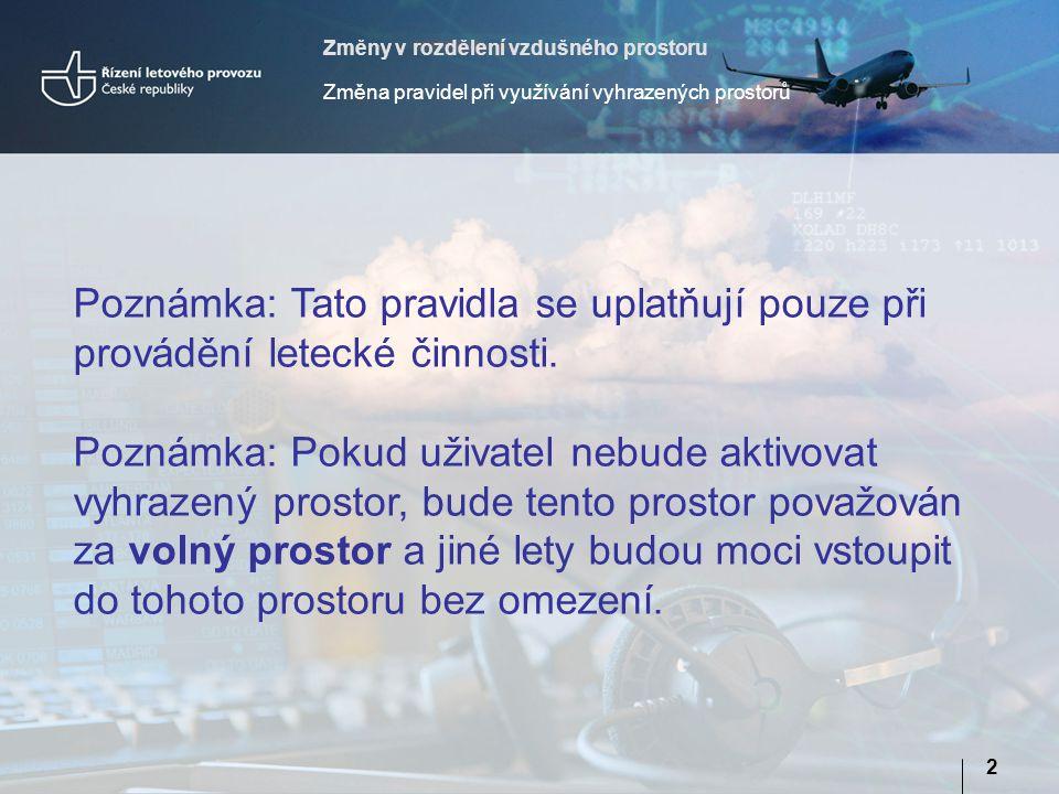 Změny v rozdělení vzdušného prostoru Změna pravidel při využívání vyhrazených prostorů 2 Poznámka: Tato pravidla se uplatňují pouze při provádění letecké činnosti.