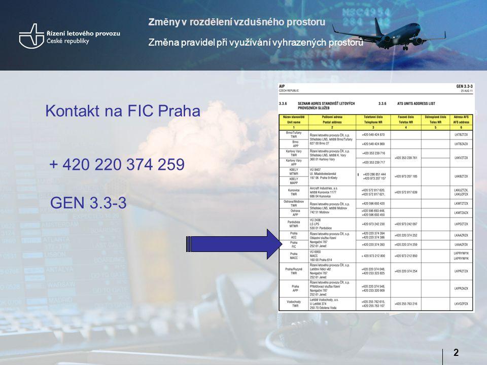 Změny v rozdělení vzdušného prostoru Změna pravidel při využívání vyhrazených prostorů 2 Kontakt na FIC Praha + 420 220 374 259 GEN 3.3-3