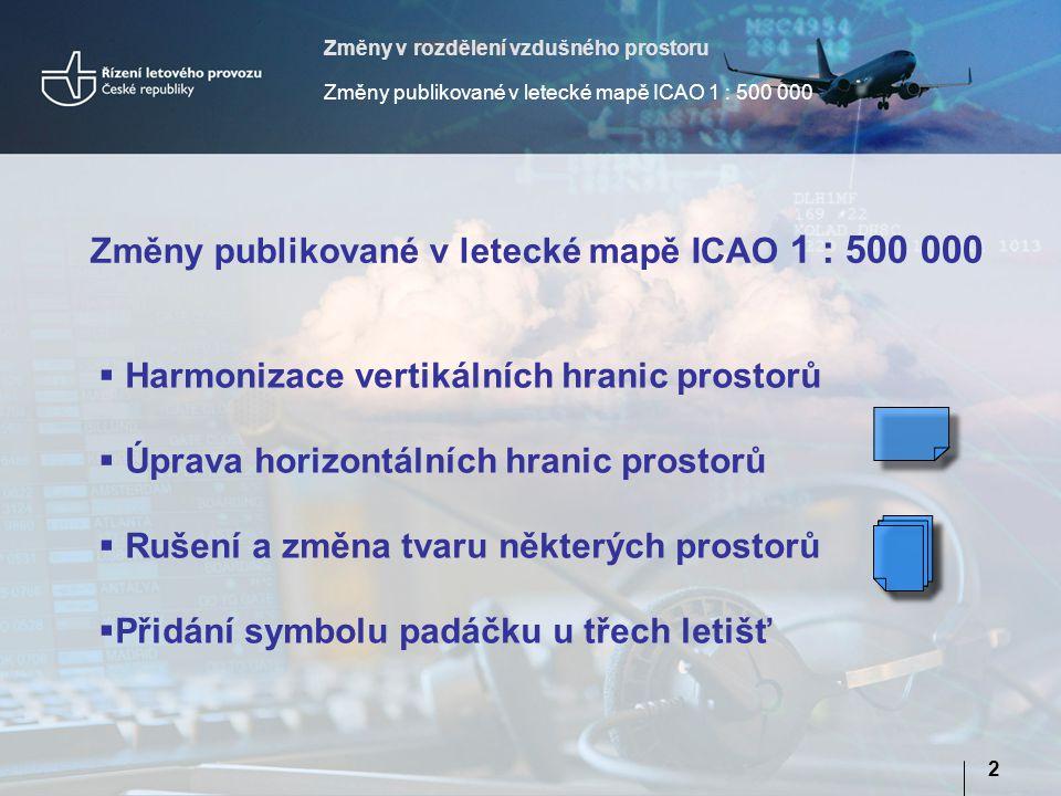 Změny v rozdělení vzdušného prostoru Změny publikované v letecké mapě ICAO 1 : 500 000 2  Harmonizace vertikálních hranic prostorů  Úprava horizontálních hranic prostorů  Rušení a změna tvaru některých prostorů  Přidání symbolu padáčku u třech letišť