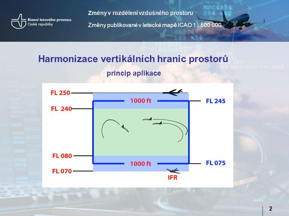 Změny v rozdělení vzdušného prostoru Změny publikované v letecké mapě ICAO 1 : 500 000 2 Harmonizace vertikálních hranic prostorů princip aplikace