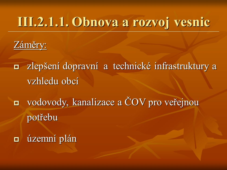Záměry:  zlepšení dopravní a technické infrastruktury a vzhledu obcí  vodovody, kanalizace a ČOV pro veřejnou potřebu  územní plán III.2.1.1. Obnov