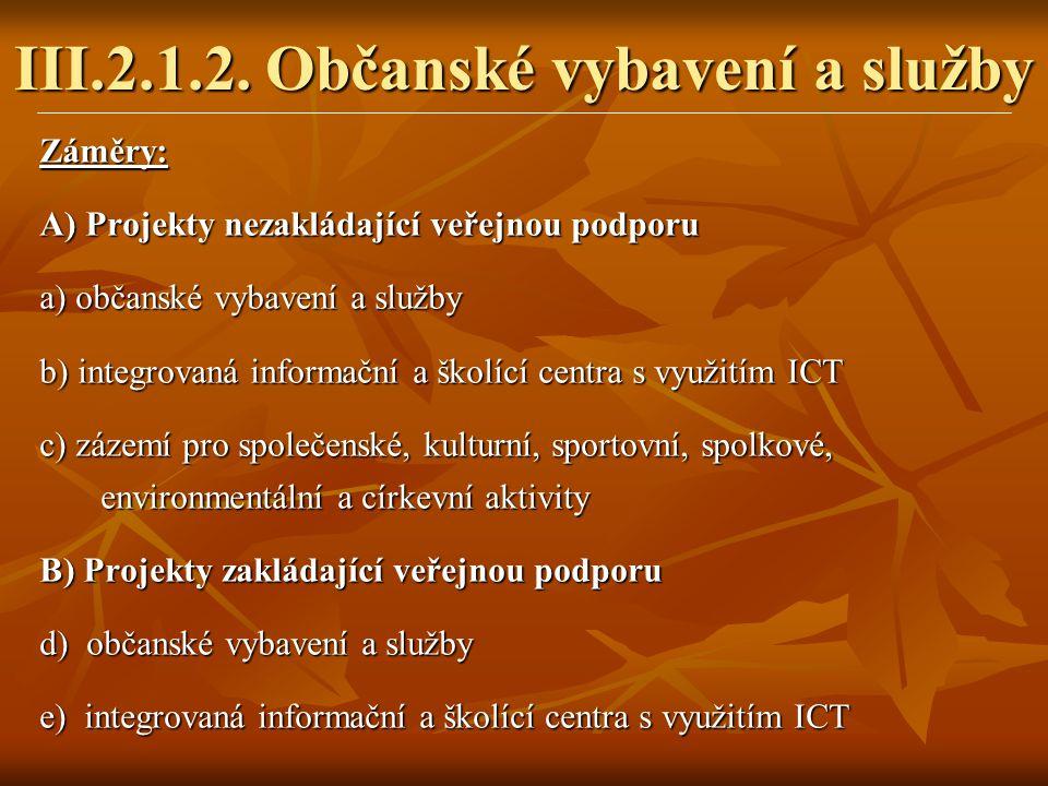 Záměry: A) Projekty nezakládající veřejnou podporu a) občanské vybavení a služby b) integrovaná informační a školící centra s využitím ICT c) zázemí p